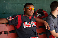 Batavia Muckdogs Stone Garrett (11) in the dugout during a game against the Auburn Doubledays on September 7, 2015 at Falcon Park in Auburn, New York.  Auburn defeated Batavia 11-10 in ten innings.  (Mike Janes/Four Seam Images)