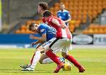 St Johnstone v East Fife…14.07.18…  McDiarmid Park    League Cup<br />David McMillan is closed down by Ross Dunlop and<br />Picture by Graeme Hart. <br />Copyright Perthshire Picture Agency<br />Tel: 01738 623350  Mobile: 07990 594431