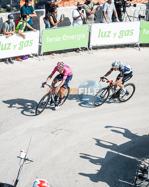 Magnus Cort Nielsen (DEN) EF Education-Nippo attacks from the breakaway on the final climb during Stage 6 of La Vuelta d'Espana 2021, running 158.3km from Requena to Alto de la Montaña Cullera, Spain. 19th August 2021.    <br /> Picture: Charly Lopez/Unipublic | Cyclefile<br /> <br /> All photos usage must carry mandatory copyright credit (© Cyclefile | Unipublic/Charly Lopez)
