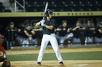 D.J. Poteet (4) of the Wake Forest Demon Deacons at bat against the Virginia Cavaliers at David F. Couch Ballpark on May 18, 2018 in  Winston-Salem, North Carolina.  The Cavaliers defeated the Demon Deacons 15-3.  (Brian Westerholt/Four Seam Images)