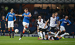 Lee McCulloch swings at Fraser Aird's corner kick and misses in front of goal