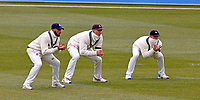 Jack Leaning (L), Zak Crawley & Jordan Cox (R) in the slips for Kent during Kent CCC vs Yorkshire CCC, LV Insurance County Championship Group 3 Cricket at The Spitfire Ground on 15th April 2021