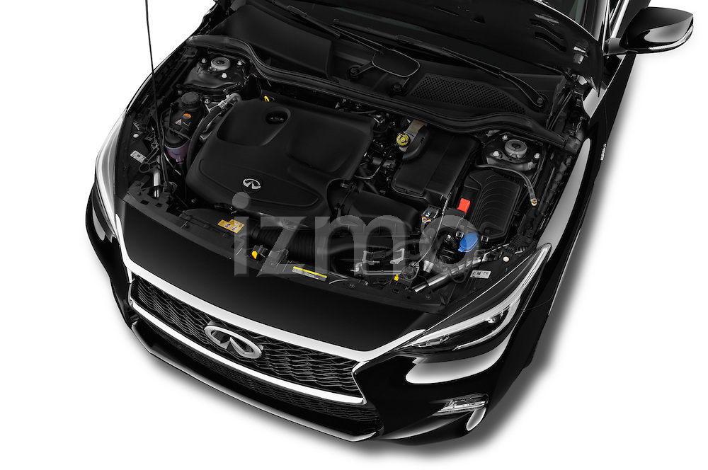 Car Stock 2018 Infiniti QX30 Sport 5 Door SUV Engine  high angle detail view