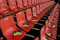 ANC flags wait on the seats before an African National Congress (ANC) election rally held at the Ellis Park Stadium in Johannesburg.