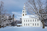 Fresh snow on the Meetinghouse in Jaffrey, New Hampshire, USA