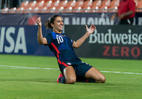 HOUSTON, TX - JUNE 13: Carli Lloyd #10 of the USWNT celebrates during a game between Jamaica and USWNT at BBVA Stadium on June 13, 2021 in Houston, Texas.