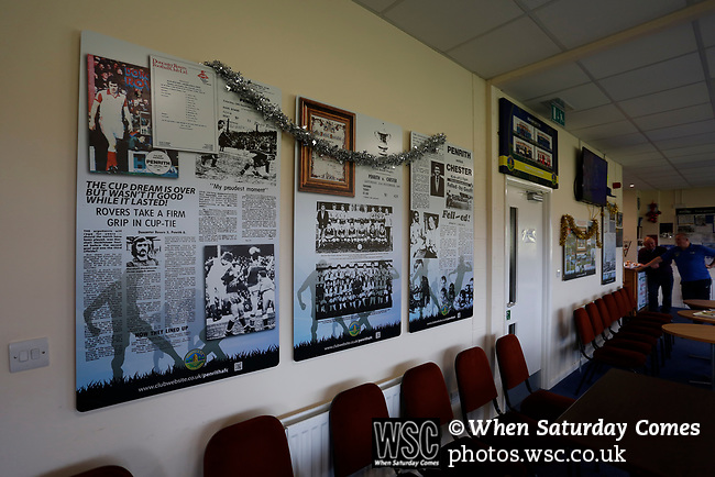 Display boards in the bar celebrating Penrith's history. Penrith AFC V Hebburn Town, Northern League Division One, 22nd December 2018. Penrith are the only Cumbrian team in the Northern League. All the other teams are based across the Pennines in the north east.<br /> Penrith, winless at kick off, lost a thriller 3-4, in front of 100 people. They won five games all season, but were reprieved from relegation following Blyth's resignation from the league.