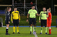 Match referee Virgil Ifrim points to captain Jana Simons of Woluwe (8) at the start of a female soccer game between FC Femina White Star Woluwe and Eendracht Aalst on the sixth matchday of the 2020 - 2021 season of Belgian Scooore Womens Super League , friday 6 th of November 2020  in Woluwe , Belgium . PHOTO SPORTPIX.BE | SPP | SEVIL OKTEM