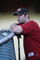 Conor Jackson of the Arizona Diamondbacks during batting practice before a game from the 2007 season at Dodger Stadium in Los Angeles, California. (Larry Goren/Four Seam Images)