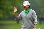Taiwanese Yani Tseng waves to the crowd on the eighth hole at the LPGA Championship at Locust Hill Country Club in Pittsford, NY on June 7, 2013