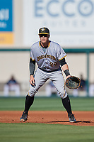 Bradenton Marauders first baseman Lucas Tancas (29) during the first game of a doubleheader against the Lakeland Flying Tigers on April 11, 2018 at Publix Field at Joker Marchant Stadium in Lakeland, Florida.  Lakeland defeated Bradenton 5-4.  (Mike Janes/Four Seam Images)
