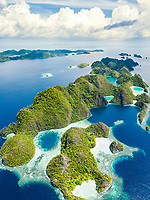 aerial view of a remote set of limestone islands, surrounded by beautiful coral reefs, Raja Ampat Islands, West Papua, Indonesia, Pacific Ocean
