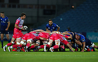 2nd October 2020; RDS Arena, Dublin, Leinster, Ireland; Guinness Pro 14 Rugby, Leinster versus Dragons; Rhodri Williams (Captain Dragons) prepares to put in to the scrum
