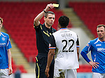 St Johnstone v Inverness Caley Thistle....07.04.12   SPL.Ref Kevin Clancy on his SPL debut books Kenny Gillet.Picture by Graeme Hart..Copyright Perthshire Picture Agency.Tel: 01738 623350  Mobile: 07990 594431