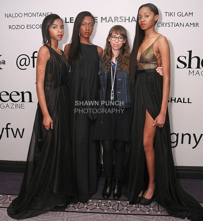 Fashion designer Leanne Marshall (second right) poses with models after her LM by Leanne Marshall Fall 2015 collection runway show, at Fashion Gallery New York Fashion Week Fall 2015.