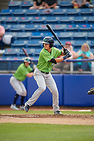 Lynchburg Hillcats shortstop Luke Wakamatsu (12) at bat during a game against the Salem Red Sox on May 10, 2018 at Haley Toyota Field in Salem, Virginia.  Lynchburg defeated Salem 11-5.  (Mike Janes/Four Seam Images)