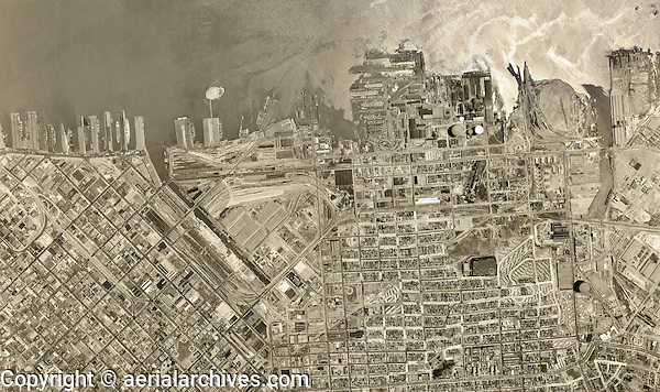 historical aerial photograph South Bay, Mission Bay, Dogpatch, San Francisco, California, 1946