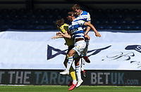 Conor Masterson of Queens Park Rangers, Dominic Ball of Queens Park Rangers  and Jon Daoi Boovarsson of Millwall go up for the ball during Queens Park Rangers vs Millwall, Sky Bet EFL Championship Football at Loftus Road Stadium on 18th July 2020