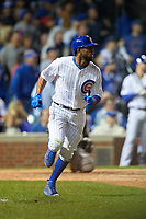 Chicago Cubs Dexter Fowler (24) runs to first base after hitting a home run in the eighth inning during Game 4 of the Major League Baseball World Series against the Cleveland Indians on October 29, 2016 at Wrigley Field in Chicago, Illinois.  (Mike Janes/Four Seam Images)