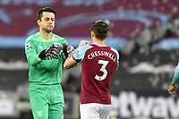 Lukasz Fabianski of West Ham United and Aaron Cresswell during West Ham United vs Aston Villa, Premier League Football at The London Stadium on 30th November 2020