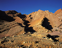 Morning in the Negev desert north of Eilat, with rocky hills and gullies, Israe