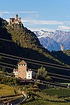 Italy, Alto Adige - Trentino (South Tyrol), Community Appiano sulla Strada del Vino, Castle Route: Corba Castle and Appiano Castle above Missiano, at background tower Kreideturm and the mountains of Texel Group (Gruppo Tessa) | Italien, Suedtirol, bei Bozen, Gemeinde Eppan, Burgenstrasse: Schloss Korb und Schloss Hocheppan oberhalb von Missian, im Hintergrund der Kreideturm und die Berge der Texelgruppe im Meraner Land