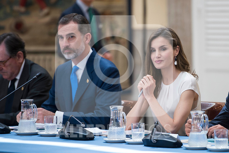 King Felipe VI of Spain and Queen Letizia attends the meeting of the members of the patronage of the Princesa de Asturias foundation at El Pardo Palace in Madrid, June 16, 2017. Spain.<br /> (ALTERPHOTOS/BorjaB.Hojas)