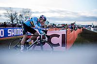 Wout Van Aert (BEL) chasing<br /> <br /> Men's Elite race <br /> <br /> UCI 2019 Cyclocross World Championships<br /> Bogense / Denmark<br /> <br /> <br /> ©kramon