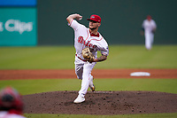 Pitcher Chase Shugart (12) of the Greenville Drive in a game against the Asheville Tourists on Wednesday, June 2, 2021, at Fluor Field at the West End in Greenville, South Carolina. (Tom Priddy/Four Seam Images)
