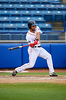 Salem Red Sox left fielder Tyler Hill (24) at bat during the first game of a doubleheader against the Potomac Nationals on June 11, 2018 at Haley Toyota Field in Salem, Virginia.  Potomac defeated Salem 9-4.  (Mike Janes/Four Seam Images)