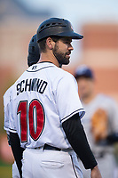 Indianapolis Indians assistant coach Jonathan Schwind (10) during an International League game against the Columbus Clippers on April 29, 2019 at Victory Field in Indianapolis, Indiana. Indianapolis defeated Columbus 5-3. (Zachary Lucy/Four Seam Images)