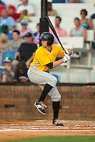 Jordan George (10) of the Bristol Pirates at bat against the Johnson City Cardinals at Howard Johnson Field at Cardinal Park on July 6, 2015 in Johnson City, Tennessee.  The Cardinals defeated the Pirates 8-2 in game two of a double-header. (Brian Westerholt/Four Seam Images)