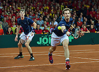 Gent, Belgium, November 28, 2015, Davis Cup Final, Belgium-Great Britain, day two, doubles match, Andy Murray/Jamie Murray (GBR) (L)<br /> Photo: Tennisimages/Henk Koster