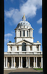 Great Britain, London: Greenwich, Classical architecture and columns at the Royal Naval College, part of which built by Sir Christopher Wren in the 17th century