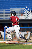 Mahoning Valley Scrappers center fielder Gabriel Mejia (1) at bat during the first game of a doubleheader against the Batavia Muckdogs on August 17, 2016 at Dwyer Stadium in Batavia, New York.  Mahoning Valley defeated Batavia 10-3.  (Mike Janes/Four Seam Images)