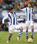 Real Sociedad's Carlos Vela (l) and Xabi Prieto during La Liga match. March 1,2016. (ALTERPHOTOS/Acero)