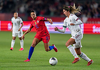 CARSON, CA - FEBRUARY 7: Carli Lloyd #10 of the United States defends Jocelyn Orejel #4 of Mexico during a game between Mexico and USWNT at Dignity Health Sports Park on February 7, 2020 in Carson, California.