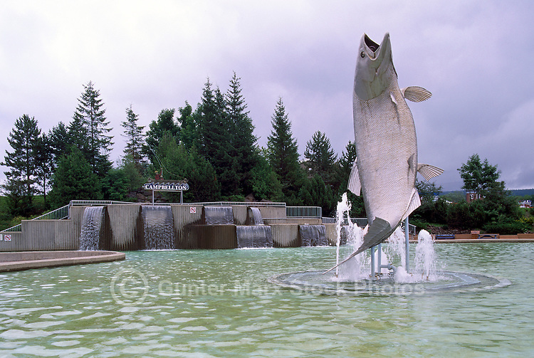 "Campbellton, NB, New Brunswick, Canada -  World's Largest Atlantic Salmon Sculpture called ""Restigouche Sam"""