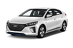2017 Hyundai Ioniq Plug-In Hybride Executive 5 Door Hatchback angular front stock photos of front three quarter view