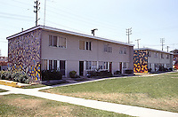 Los Angeles: Murals on buildings, Estrada Court in Boyle Heights, 1975. Photo '85.