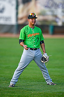 Carlos Perez (7) of the Great Falls Voyagers before the game against the Ogden Raptors in Pioneer League action at Lindquist Field on August 18, 2016 in Ogden, Utah. Ogden defeated Great Falls 10-6. (Stephen Smith/Four Seam Images)