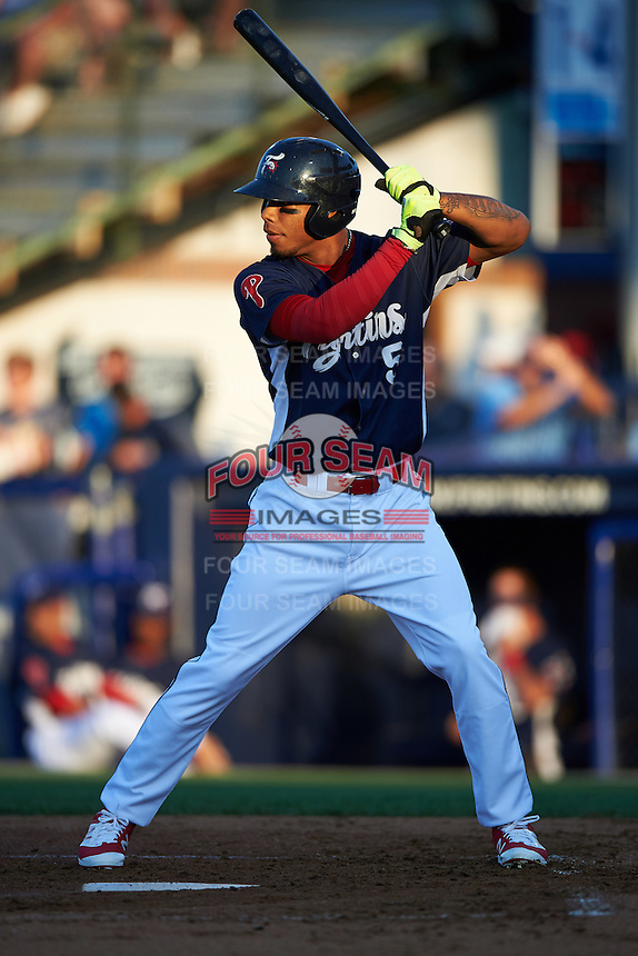 Reading Fightin Phils third baseman Angelo Mora (3) at bat during a game against the New Britain Rock Cats on August 7, 2015 at FirstEnergy Stadium in Reading, Pennsylvania.  Reading defeated New Britain 4-3 in ten innings.  (Mike Janes/Four Seam Images)