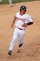 Wisconsin Timber Rattlers outfielder Ryan Aguilar (21) rounds the bases during a Midwest League game against the Quad Cities River Bandits on April 8, 2017 at Fox Cities Stadium in Appleton, Wisconsin.  Wisconsin defeated Quad Cities 3-2. (Brad Krause/Four Seam Images)