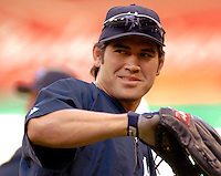 16 June 2006: Johnny Damon, center fielder for the New York Yankees, warms up prior to a game against the Washington Nationals at RFK Stadium, in Washington, DC. The Yankees defeated the Nationals 7-5 in the first meeting of the two franchises...Mandatory Photo Credit: Ed Wolfstein Photo...