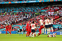 7th July 2021, Wembley Stadium, London, England; 2020 European Football Championships (delayed) semi-final, England versus Denmark;  Mikkel DAMSGAARD DEN takes a direct free kick and scores his goal for 0-1 from a direct free kick