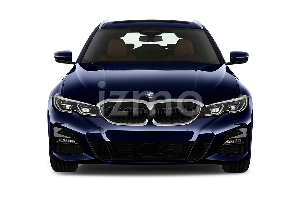 Car photography straight front view of a 2020 BMW 3-Series M-Sport 5 Door Wagon Front View