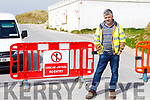 Kerry County Council employee Kevin McGovern manning the barrier at the entrance to Banna Beach on Easter Saturday.