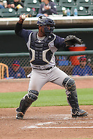Colorado Springs Sky Sox catcher Robinzon Diaz (7) throws down to second base during a Pacific Coast League game against the Iowa Cubs on May 10th, 2015 at Principal Park in Des Moines, Iowa.  Iowa defeated Colorado Springs 14-2.  (Brad Krause/Four Seam Images)