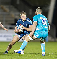 8th January 2021; AJ Bell Stadium, Salford, Lancashire, England; English Premiership Rugby, Sale Sharks versus Worcester Warriors; Sam Hill of Sale Sharks runs into contact with Cornell de Preez of Worcester Warriors