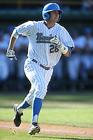 Justin Hazzard (28) of the UCLA Bruins runs the bases during a game against the Hofstra Pride at Jackie Robinson Stadium on March 14, 2015 in Los Angeles, California. UCLA defeated Hofstra, 18-1. (Larry Goren/Four Seam Images)